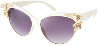 Asos Cat Eye Sunglasses With Bug & Flower Detail