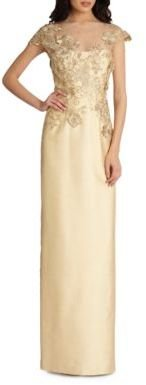 Teri Jon by Rickie Freeman Lace-Applique Gown