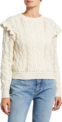 Frame Sofia Ruffle Cable-Knit Sweater