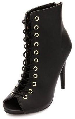 Dollhouse Lace-Up High Heel Peep Toe Booties