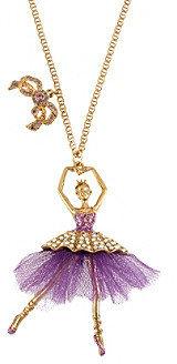 Betsey Johnson Purple Ballerina Pendant Long Necklace