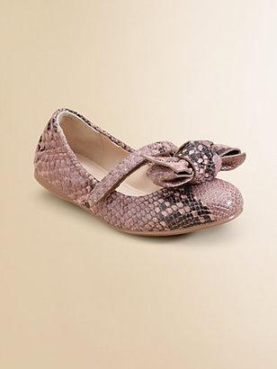 Prada Toddler's & Girl's Leather Python Ballet Flats