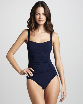 Karla Colletto Basic Square-Neck One-Piece Swimsuit, Navy