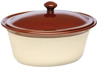 Paula Deen Signature Stoneware Southern Gathering 3.5 qt. Covered Oval Casserole in Chestnut