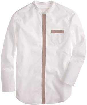 Thomas Mason for J.Crew leather-trim tunic