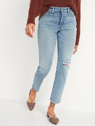 Old Navy High-Waisted O.G. Straight Button-Fly Ripped Jeans for Women