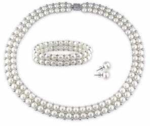 Concerto 6-8mm White Button Freshwater Pearl Sterling Silver Necklace, Bracelet and Earrings Set