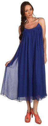 Tibi Solid Silk Chiffon Long Spaghetti Strap Dress (Limoges Blue) - Apparel