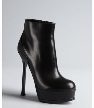 Yves Saint Laurent black leather platform ankle boots