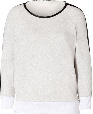 Sandro Grey Heather Wool Sweatshirt with Leather Trim