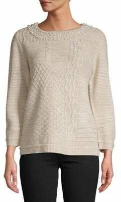 Karl Lagerfeld Paris Faux Pearl Embellished Sweater