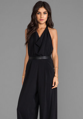 Alice + Olivia Danyl Open Back Disco Jumpsuit with Leather Waistband