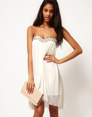 Asos Strapless Dress In Mesh With Embellished Bust
