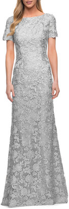 La Femme Short-Sleeve Lace Column Gown
