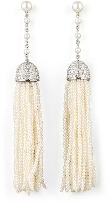 Ivanka Trump Seed Pearl and Diamond Tassel Earrings