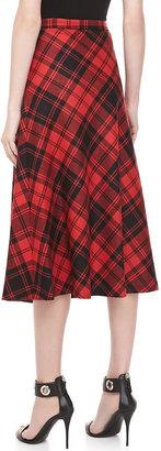 Michael Kors Fairfax Plaid A-line Skirt, Black/Crimson