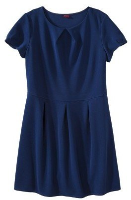Women's Plus Size Short Sleeve Pleated Front Dress