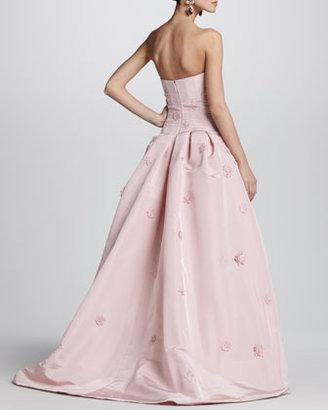Oscar de la Renta Strapless Floral-Applique Ball Gown