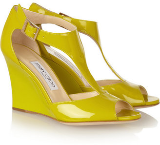 Jimmy Choo Token patent-leather T-bar wedge sandals