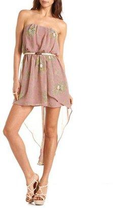 Charlotte Russe Floral Skull Print Hi-Low Dress