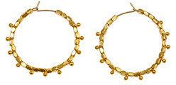 Wendy Mink Gold Nugget Stud Hoop Earrings