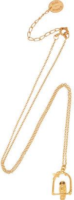 Alex Monroe Little Owl gold-plated diamond necklace