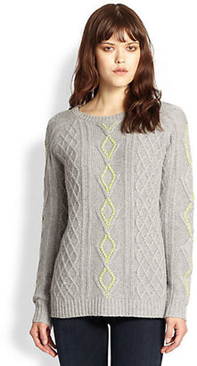 360 Sweater Contrast-Stitched Cable-Knit Sweater