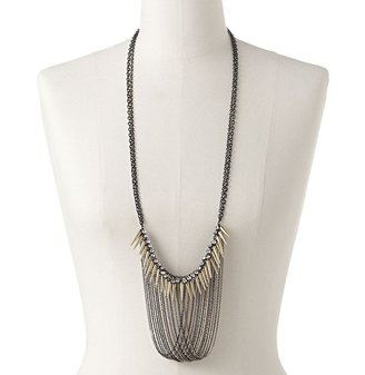 Rock & Republic Rock and republic two tone simulated crystal and spike long swag necklace