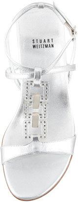 Stuart Weitzman Metallic Low-Wedge Sandal, Silver