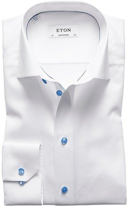 Eton White Twill Shirt With Blue Details - Contemporary Fit