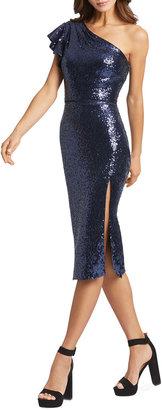 Mac Duggal Sequin Ruffle One-Shoulder Sheath Dress