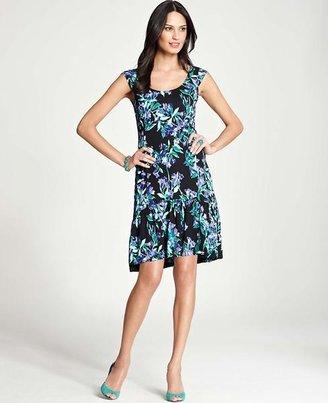 Ann Taylor Blue Bell Print Flounce Dress
