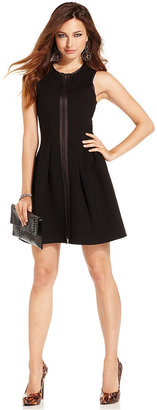 GUESS by Marciano Dress, Sleeveless High-Neck Zipper A-Line
