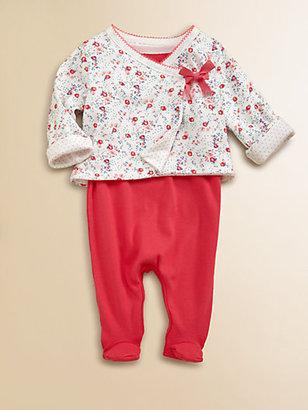 Petit Bateau Layette's Floral Two-Piece Bodysuit & Reversible Jacket Set
