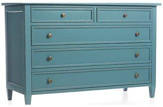 Crate & Barrel Harbor Blue 5-Drawer Dresser