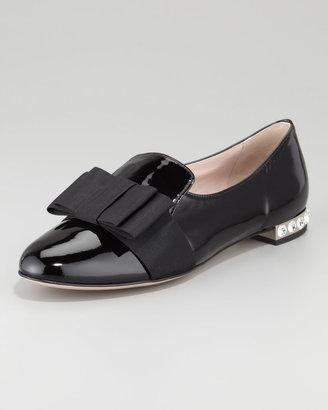 Miu Miu Patent Leather Grosgrain Bow Loafer, Black