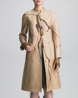 Ralph Rucci Crack-Print Cashmere Coat