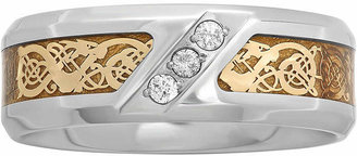 JCPenney MODERN BRIDE Mens 1/10 CT. T.W. Diamond Tribal Inlay Wedding Band