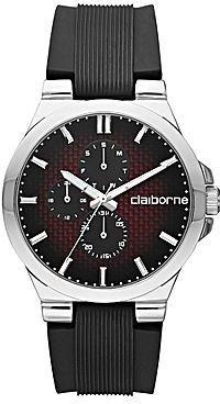 Claiborne Mens Multifunction Black Rubber Watch