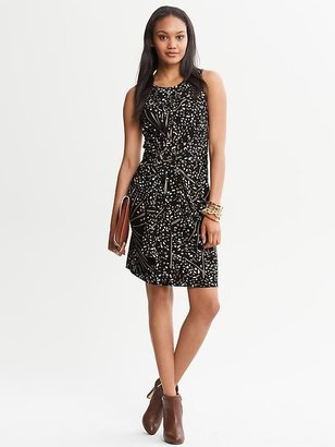 Issa Collection Black Printed Wrap-Tie Dress