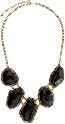 Evans Black Jagged Frame Necklace