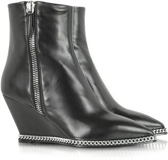 Giuseppe Zanotti Yvette Black Leather Wedge Boot w/Metal Chain