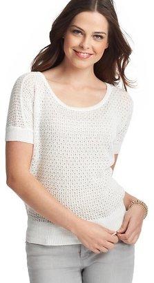 LOFT Open Stitch Wedge Short Sleeve Sweater
