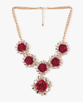 Forever 21 Rhinestoned Rosette Necklace