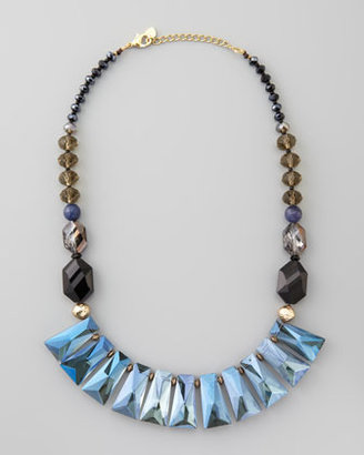 Nakamol Iridescent Crystal Bib Necklace, Blue Multi