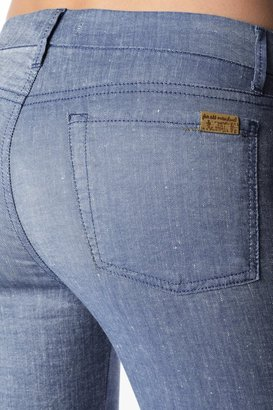 7 For All Mankind Welt Pocket Trouser In Light Blue Chambray
