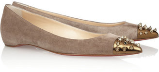 Christian Louboutin Geo spiked suede and leather ballet flats