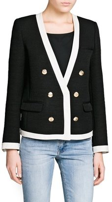 MANGO Outlet Contrast Trim Textured Jacket