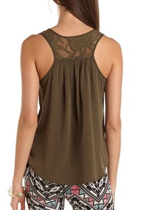Charlotte Russe Lace Inset Racerback Tank