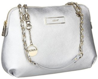 DKNY Items Saffiano Leather Round Crossbody (Silver) - Bags and Luggage